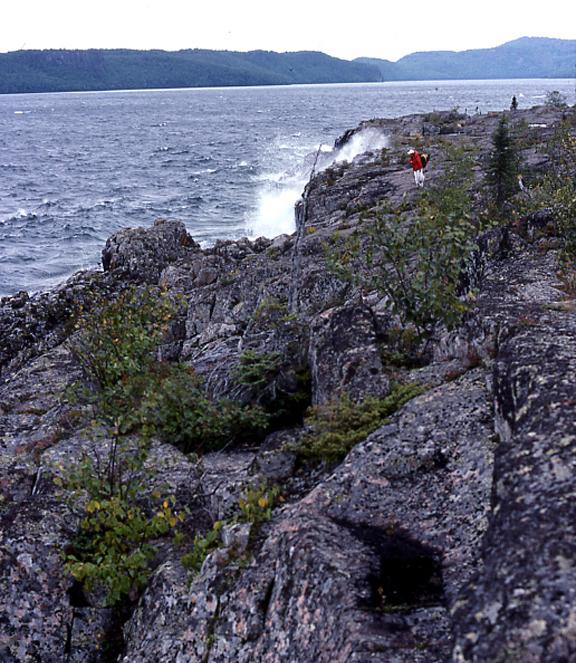 Waves crashing on the Lake Superior shoreline