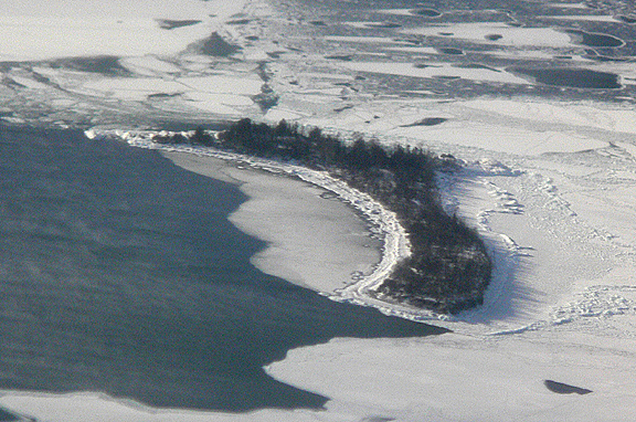 Hare Island from the air on January 20, 2008