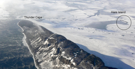Aerial photo (looking south) of Hare Island in relation to Thunder Cape, January 20, 2008.