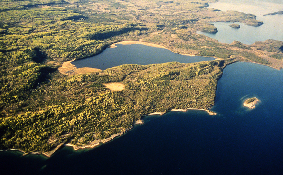 Aerial photograph of Caldwell Lake on Lake Superior. Lot 19B is located between the West end of Caldwell Lake and the Lake Superior shore (Jeanette Lightwood photo).
